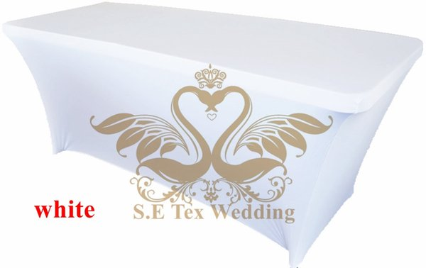 top popular White Color Lycra Spandex Table Cover \ Table Cloth For Wedding 2020
