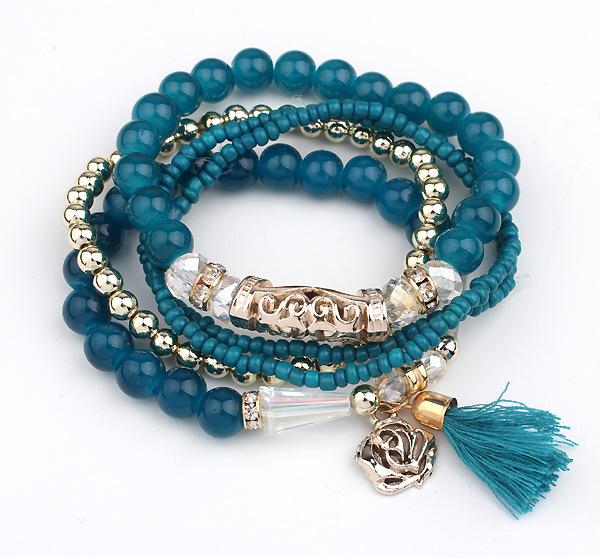 Fashion Multi Bracelets Women Mix Beads Elastic Bracelet Alloy Flower Tassel Pendant Bracelet Red/Black/Beige/Blue Free Shipping