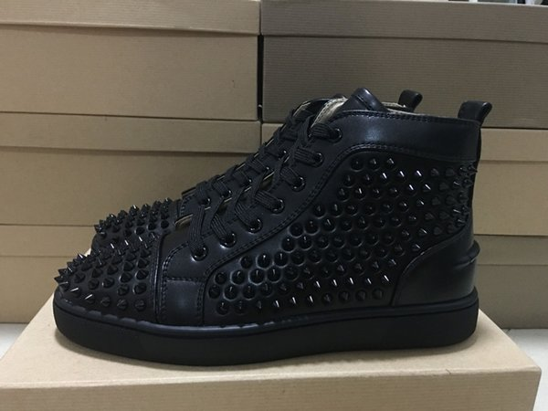 High Top Studded Spikes Casual Flats Red Bottom Luxury Shoes For Men Women 2016 New Mens GS Party Designer Sneakers Lovers Genuine Leather