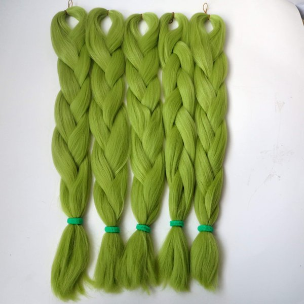 top popular Kanekalon Jumbo braiding hair 24inch Folded 80grams Synthetic Braids Hair Extension T0445-LIGHT OLIVE GREEN Color Free shipping 2020