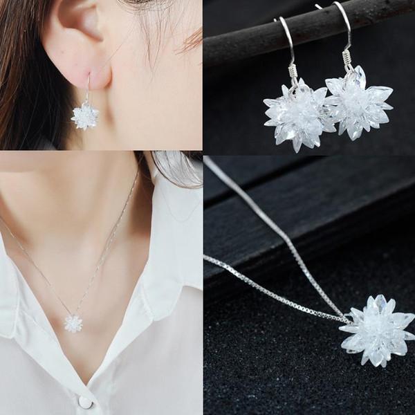 925 Sterling Silver Handmade 3D Zircon Bola De Neve De Gelo Colar De Pingente De Flor e Brinco Dangle Estilo Coreano Por Atacado