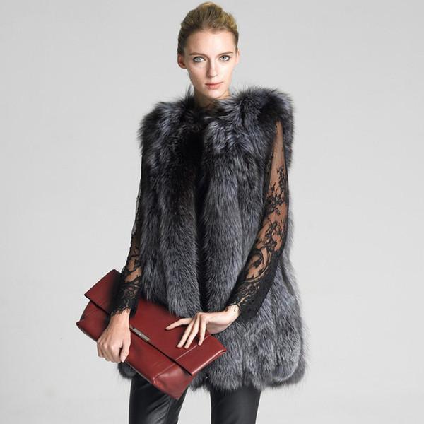 Livraison gratuite Gris Taille S M L XL Femmes Gilet Chaud Slim Outwear Gilet Faux Renard Gilet Sans Fourrure Veste De Fourrure Long Manteau De Fourrure