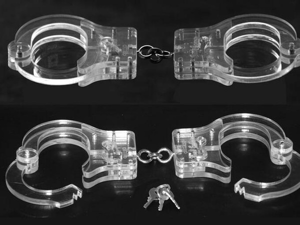 2018 Luxury Male Female Transparent Crystal Restraint Slave Wrist Restraint Handcuff Manacle BDSM bondage come with chain sex toys product