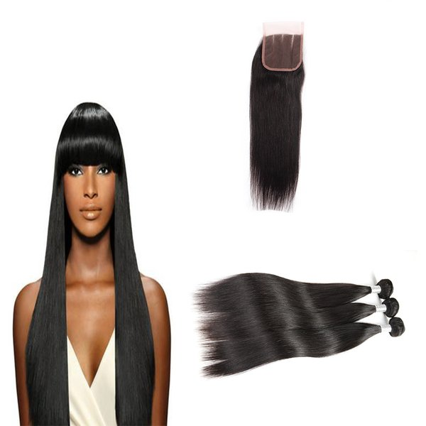 best Selling Brazilian Straight Hair 3 Bundles With Lace Closure Free Part 100% Unprocessed 8A Human Hair Extension Bundles Natural Color