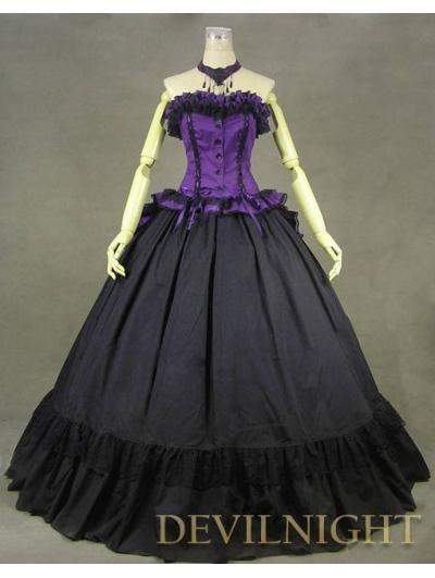 2016 Hot Sale Purple /Black Strap Marie Antoinette Victorian Ball Gown Civil War Party Dresses Costume For Halloween