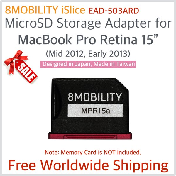 """8Mobility Islice Aluminum Memory card Reader Adapter For MacBook Retina 15"""" A1398 (Mid 2012 ~ Early 2013) EMC2512 EMC2673 Red"""