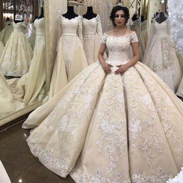 Gorgeous Ruffles Ball Gown Wedding Dresses Elegant Off Shoulder Lace Applique Short Sleeves Beach Wedding Gown Custom Made Bridal Dresses