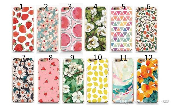 TPU cases For Apple Iphone5/6 7 plus case Silicon Cartoon Cute flower fruit Design Soft painted Cases for iphone 7 PLUS back cover