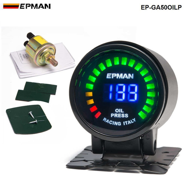 """top popular EPMAN Car Motor Auto 2""""52mm Digital Smoked 20 LED Psi Bar Oil Press Pressure Meter Gauge W' Sensor For Honda EP-GA50OILP 2021"""