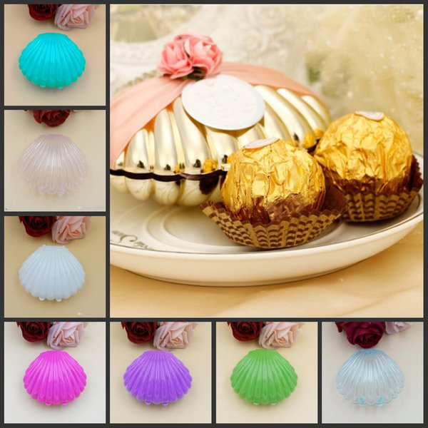 New clear Wedding party favor holder Sea Shell chocolate gift candy boxes baby shower christmas Party Supplies gold silver white blue