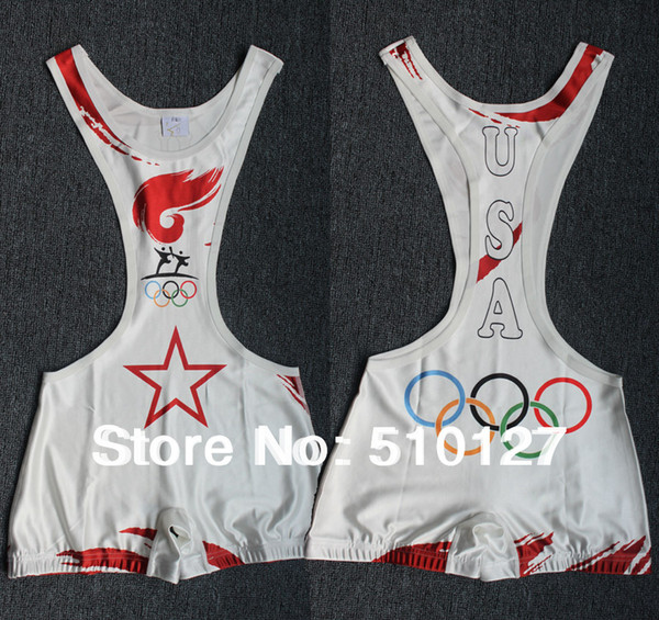 2016 Save Olympic Torch Wrestling Singlet Gear Weight lifting Gym Building sports Outfit Sey Tights for men