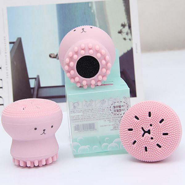 HF002 Cepillos de lavado Super poco pulpo lindo Limpiador Facial Masaje Silicona suave Cepillo Facial Limpiadores Faciales Espinilla Punto Acné Amazon sale