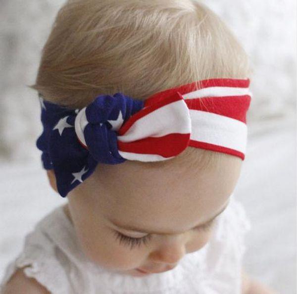 New American Headband Da Bandeira Da Moda 4o de Julho Bebê Meninas Turbante Orelha de Coelho Hairband Bowknot Bandeira Americana Headband Ho