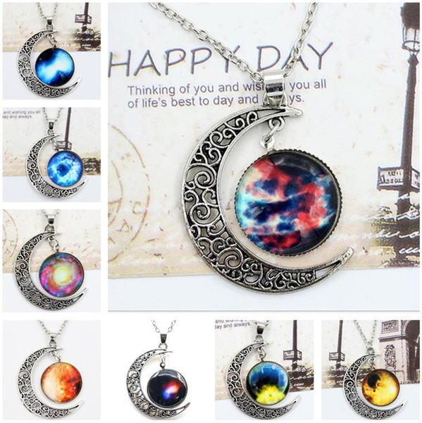 Chokers Necklace Swarovski Starry Outer Space Universe Gemstone Silver Chain Moon Necklaces Pendant Galaxy Half Crescen Glass Moon Necklace