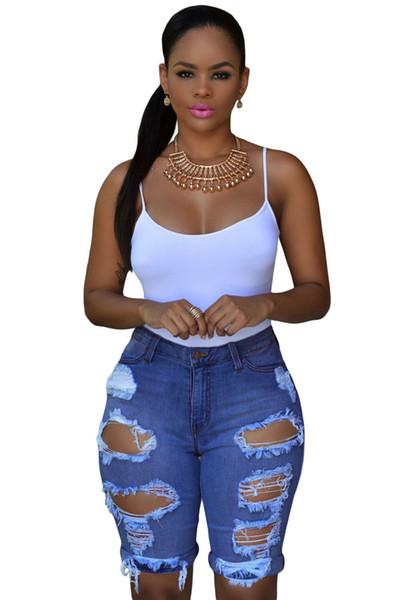 Compre Verano Azul Blanco Negro Denim Destruido Bermudas Pantalones Cortos Mujeres Agujero Rasgado Tallas Grandes Pantalones Vaqueros De Talle Alto