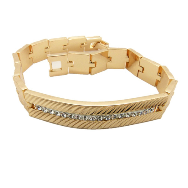 Clear Row Cubic Zirconia 9K Gold Filled Mens Wrist Bracelet Chain Inlaid