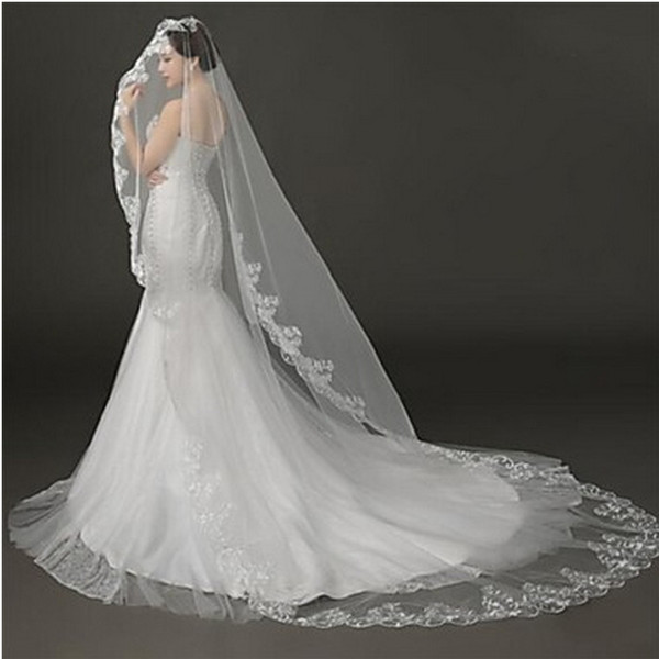 New High Quality Sexy Romantic One Layer Chapel Lace Applique veil Bridal Head Pieces For Wedding Dresses