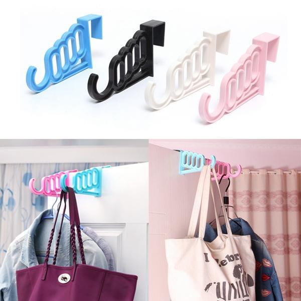 Wholesale- Best Promotion!!! Convenient Hook Hanger Over Door Hanging Cloth Coat Racks Cap Bag Four Holes Lowest Price