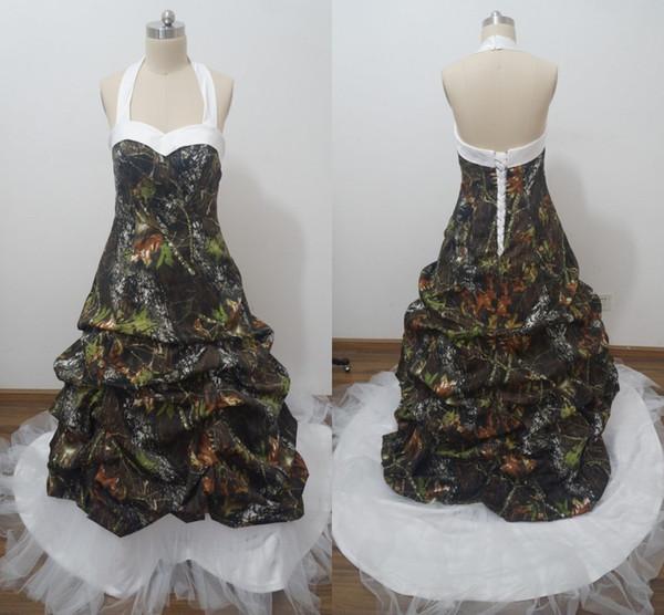Vestidos de novia de camuflaje de talla grande 2016 con volantes halter Corsé trasero A Line Satén y tul Vestidos de novia de moda Vestiods Imagen real