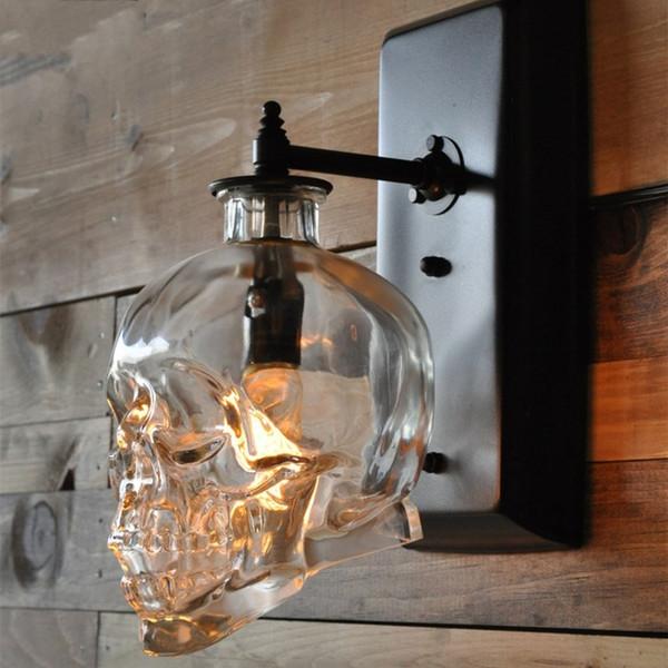 Loft Kişilik Endüstriyel Demir + Cam Retro Bar Dış Duvar Lambası Kafatası Duvar Aplik Işıkları Otel KTV Yatak Odası Oturma Odası Aydınlatma