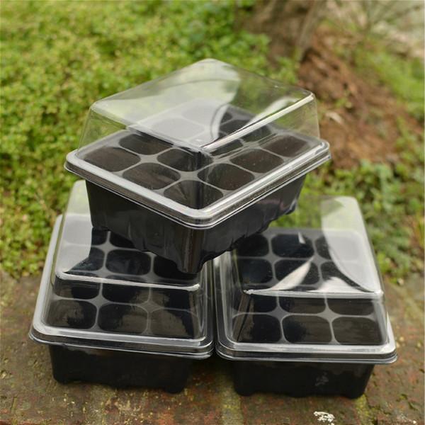 Plateau de propagation noir 12 cellules Clonage de semences Cloner Boîte de culture Boîte à fleurs Kit de pots de pépinière