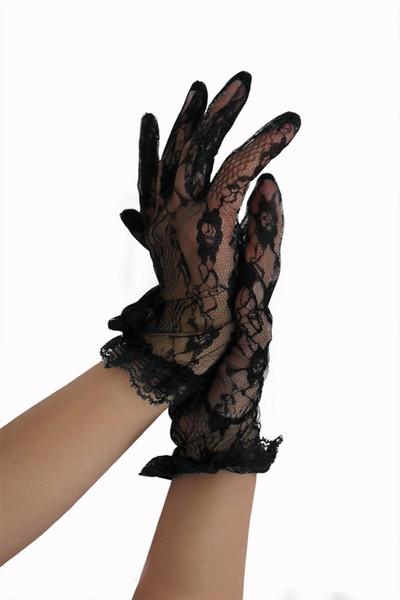 Floral lace bare wrist length transparent lace bride gloves short black color fashion mittens fashion party gloves prom gloves girls