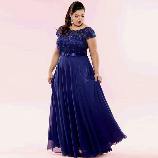 Charming Navy Lace Plus Size Prom Dresses Sheer Bateau Neck Beaded Evening Gowns Sleeves A Line Floor Length Chiffon Formal Dress Plus Size Prom