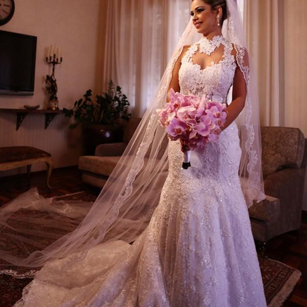 Top Quality High Neck Bridal Dress Sheer Neck Lace Mermaid Wedding Dresses Sexy Backless Court Train 2019 Latest Vestidos de Noivas