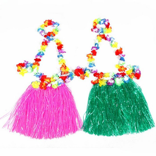 30 Sets 30cm Hawaiian Hula Grass Skirt + 4pc Lei Set for Child Luau Fancy Dress Costume Party Beach Flower Garland Set Free Ship