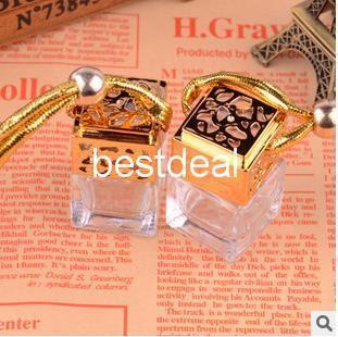 100pcs Quartet 6ML with cover/perfume bottle/jar/bottle car pendants boutique car/empty bottle gold /silver top quality