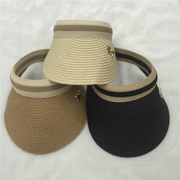 All'ingrosso-2016 Nuova estate a strisce visiere di paglia per donne sole visiera berretto da tennis Bowknot signore cappelli da sole beige nero