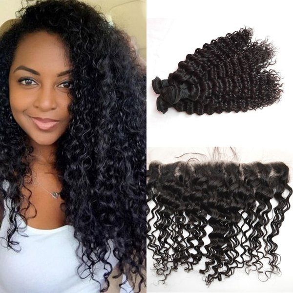 Indian Deep Wave Curly Human Hair Weave Bundles With 13X4 Lace Frontal Closure Bleached Knots G-EASY