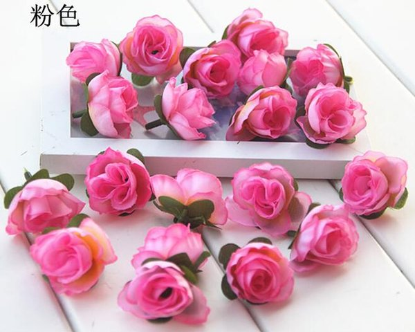 NEW 3cm Artificial Silk Rose Camellia Flower Head Leaves Wedding Christmas Decor 6 Colors Available HJIA1019
