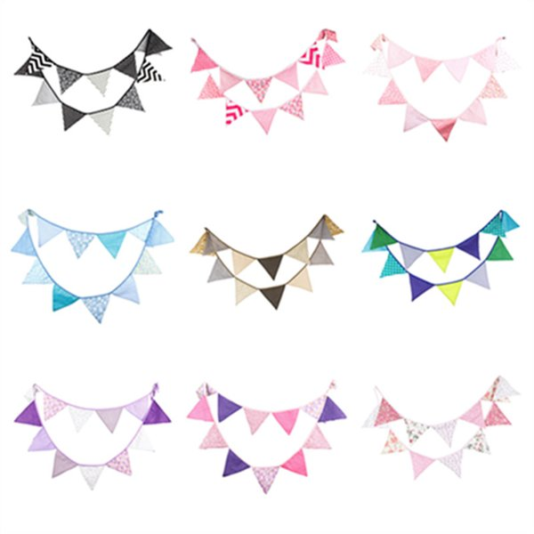 12 Flags 3.2m Many Kinds of Cotton Fabric Bunting Pennant Flags Banner Garland Wedding/Birthday/Baby Show Outdoor Party Decor