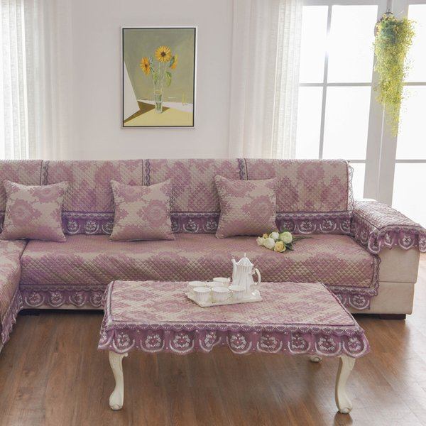 Unique Purple Sofa Pillow Couch Cushion Sofa Cover Slipcovers Pastoral  Style Furniture Protector Mat Carpet Blanket