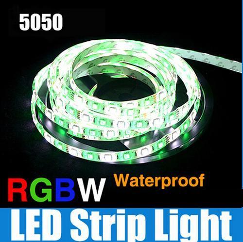LED Strip Lights 5050 SMD RGB+White/Warm white DC12V with White PCB Flexible 5M Roll 300 Leds Ribbon IP65 Waterproof 100m/lot