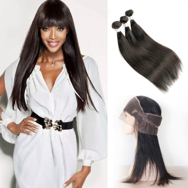 360 Lace Frontal with 3 Bundles Brazilian Straight Virgin Hair Natural Color Raw Indian Human Hair Weave Bundles Free Middle part Closure
