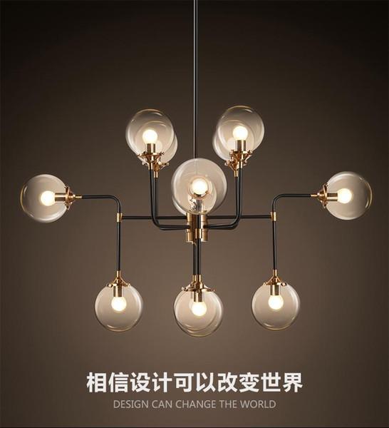 North Europe led modo pendant light globe art glass chandelier DNA pendant lights 12 globe glass lampshade for coffee clothing lighting