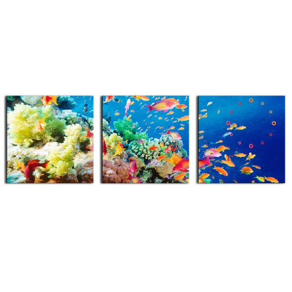 Canvas Art Blue Wall Art Painting The Bottom Of Sea Scenery Colorful And Different Fishs and coral Print On Canvas The Picture Animal