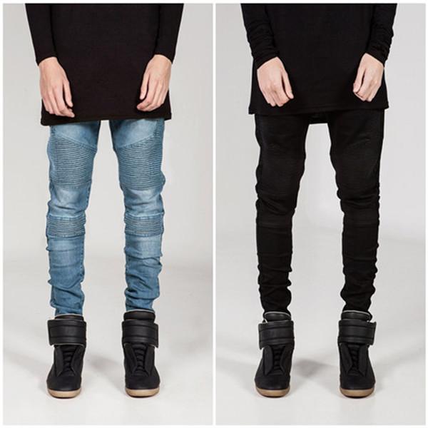 Men's Biker Jeans Slim Fit Motorcycle Biker Denim for Men Brand Designer Hip Hop Mens Jeans Cool Streetstyle Pants