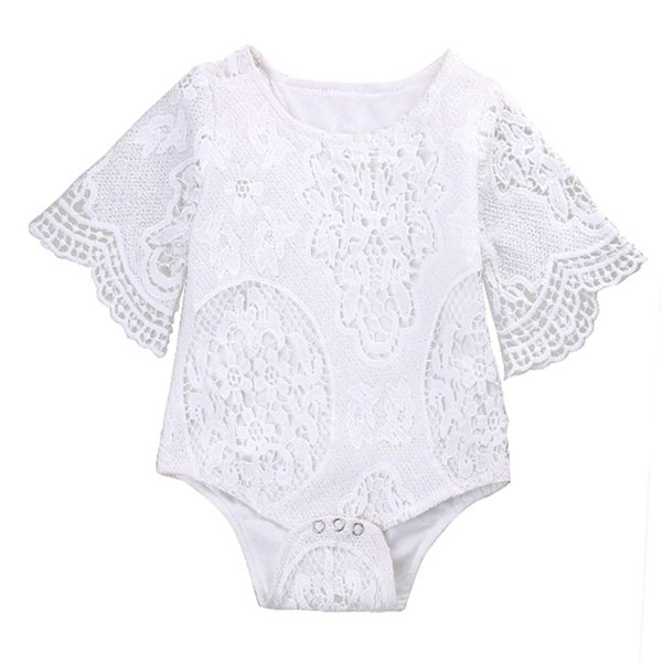 2017 INS New Baby Girl White Lace Rompers Infant Toddlers Floral Fly Sleeve One Piece Jumpsuit Free Shipping