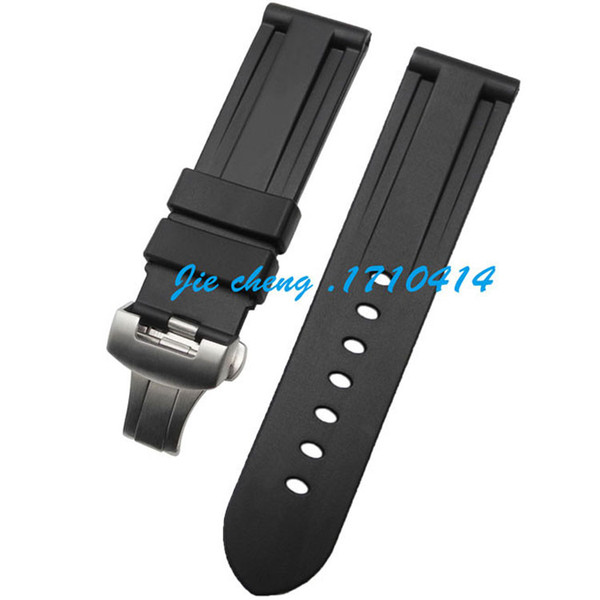best selling JAWODER Watchband 24mm Men Black Diving Silicone Rubber Watch Band Strap Stainless Steel Deployment Buckle Clasp