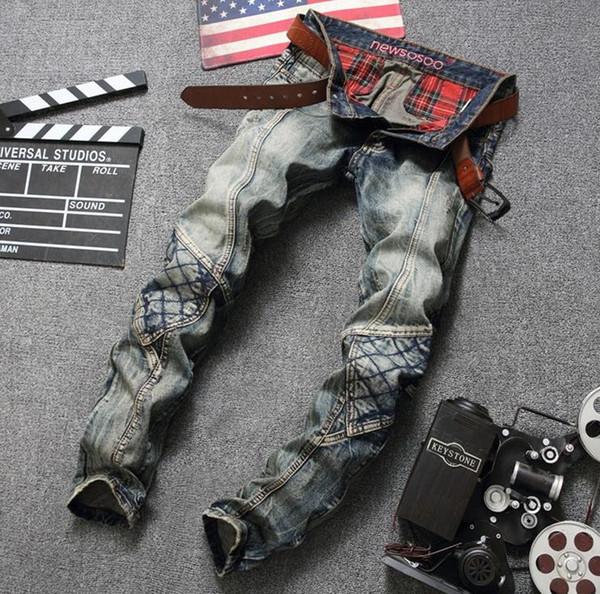 Мотоцикл клуб джинсы мужские байкер джинсы мыть классическая синяя дыра пэчворк прямо подходят джинсы джинсовые брюки Бесплатная доставка