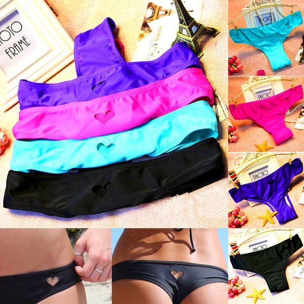 Heart Hole Thong Bikini Swimwear Cute Small Heart Shape Thong For Girls And Lady Sexy Bikini Bottom T Style For Women