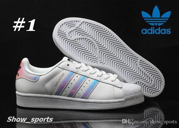 the best attitude dc788 2a43f Cheap Adidas Superstar Original White Hologram Iridescent Junior Gold  Superstars Sneakers Originals Super Star Women Men Sport Running Shoes 36  45 ...