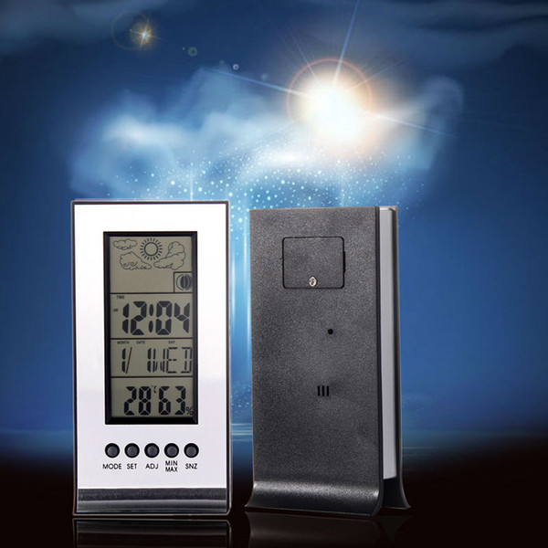Indoor Outdoor Wireless Weather Station Alarm Clock Snooze Forecast Calendar kids Snooze function Time Day Display Clock E5M1 order<$18no tr