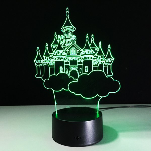 Castle 3D Optical Illusion Lamp Night Light DC 5V USB AA Battery Wholesale Dropshipping Free Shipping Retail Box