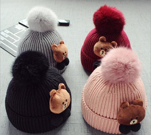 8 months old -5 years old baby child hair hat Korean version lovely bear hair ball thickening hat infant h