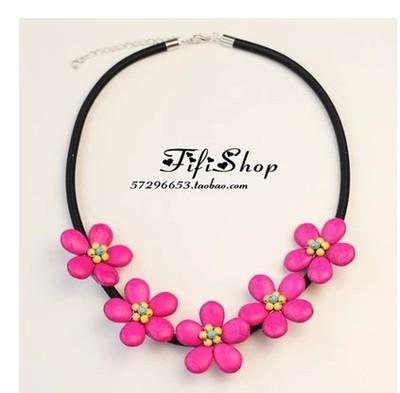 2016 Hot New Fashion Sweet Fress Sunflower Necklace Weave turquoise Flower Short Sweater Necklaces Charms Jewelry for women