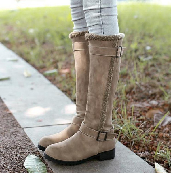 Plus Size 34 to 40 41 42 43 Retro Wind With Fur Knee High Boots Winter Shoes Khaki Black